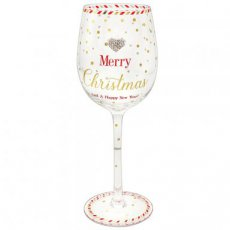 Wijnglas Mad dots Merry Christmas