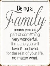 Tekstbord: Being a family means you are... EM5493
