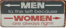 Tekstbord: Men to the left because women... EM4964