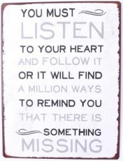 Tekstbord: You must listen to your heart... EM6028