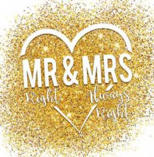Wenskaart Mr right & mrs always right. Together