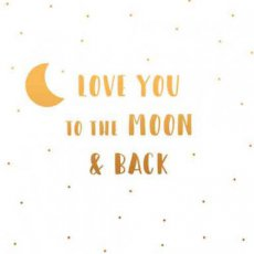 Wenskaart Love you to the moon & back. Together